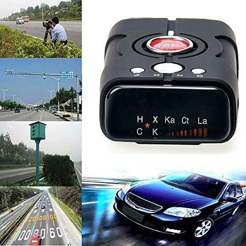 MUXAN-Radar Detector, Sprachalarm und Geschwindigkeitsmessgerät mit 360-Grad-Erkennung, Stadt- / Autobahnmodus Radarwarner für Autos (Schwarz) -