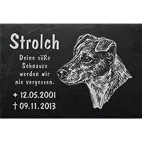 """Schiefertafel mit wetterfester Lasergravur des Motives """"Hund-011"""" und Ihrem Text/Daten in der gewünschten Schriftart z.B. als Grabstein auf das Grab oder als Gedenkstein für Zuhause von LaserArt24"""