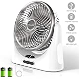 Desk Fan USB, 4000mAh Battery Operated Small Desk Fan, Portable Personal Mini Table Fan with USB Rechargeable Battery, Electric Fan for Office Outdoor Sport Household Traveling Camping, Silver