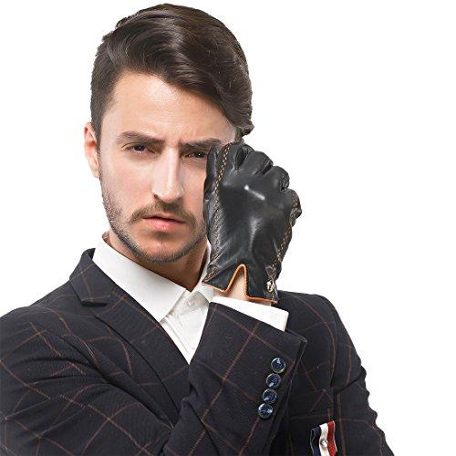 Nappaglo Herren italienisches Lammfell Nappaleder Handschuhe Touchscreen Warm Handschuhe (XXL (Umfang der Handfläche:20.8cm), Schwarz(Touchscreen))