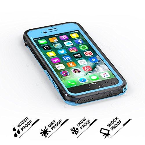 iPhone 7 Etanche Coque, Très Mince Protecteur Imperméable IP68 360 Degré Full Body Housse de Protection Case Étanche aux Chocs Finger Tough Achevée Fonction Etui pour iPhone 7 (Bleu ciel) Bleu ciel