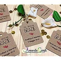 Cartellini KRAFT personalizzati, tag bomboniere, avana, etichette,matrimonio, battesimo, comunione, cresima, laurea, bigliettini carta riciclata