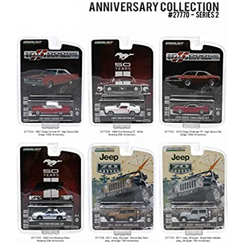 Anniversary Collection 100 Years Dodge / 50 Years Mustang / 70 Years Jeep Series 2, 6pc Diecast Car Set 1/64 by Greenlight 27770 by Greenlight