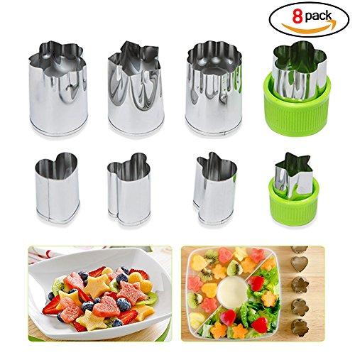 Rocita 8 Teile Werkzeug-Backform, Ausstecher Edelstahl Blume Form Zubehör Gemüse Küche (Silber)