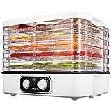 Aicook Elektrischer Dörrautomat, 5 Etagen Dörrgerät mit Temperaturregelung 35-70℃ für Fleisch, Früchte, Gemüse und Nüsse, Dörrapparat mit 5 stapelbaren Trockenschalen, BPA-frei & Spülmaschinenfest