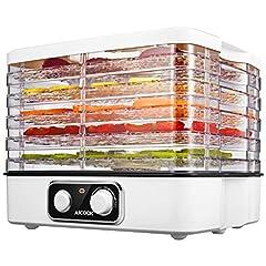 Idea Regalo - Aicook Essiccatore per Alimenti Elettrica, Essiccatore Frutta e Verdura Multistrato, Temperatura Regolabile da 35-70℃ per Carne, Frutta, Verdura e Noci, 5 Vassoi, BPA Free & Lavabile in Lavastoviglie