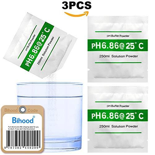 bihood PH Solution tampon pH Tampon facile Revêtement poudre pH PH Tampon Poudre pH mètre Solutions Tampon Ph Solution tampon d'étalonnage ph Mètre Contrôle pH Solution d'étalonnage ph 6.86Lot de 3