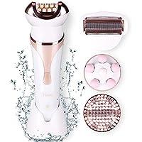 Depiladora para mujeres Waterproof 4 en 1 Conjunto con Wet Dry Hair Remover Eléctrico con Bikini Trimmer Facial Massager Cepillo de limpieza facial USB recargable #Hatteker KD-200