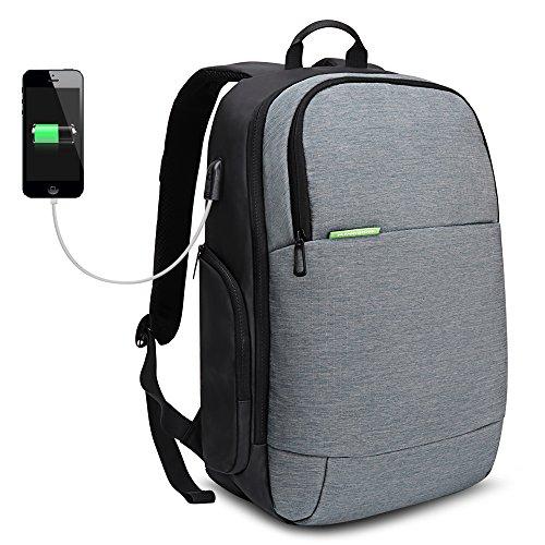 iCozzier 15,6 Pollici Zaino per Computer con Ricarica USB, da Escursionismo e da Viaggio Sportivo,Multifunzionale e antifurto con Resistenza all'Usura, Notebook - Grigio