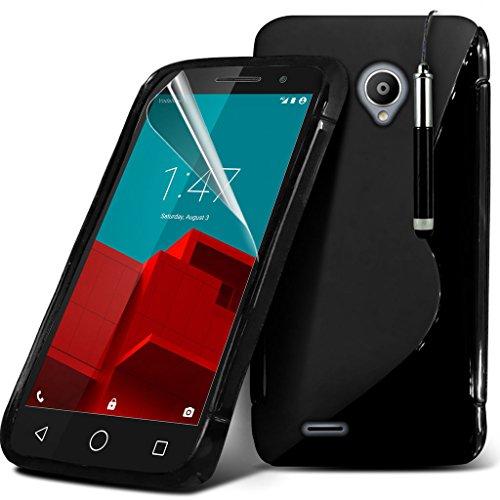 ( Black ) Vodafone Smart Prime 6 Specifically Designed S-Line Wave Design della cassa del gel viene inoltre fornito con protezione dello schermo, panno di lucidatura e penna stilo a scomparsa penna stilo in esclusiva su Spyrox
