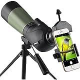 Gosky 20-60x60 HD Spotting Scope Tripod, Carrying Bag Scope Phone Adapter - BAK4 45 Degree Angled Eyepiece Telescope Target Shooting Hunting Bird Watching Wildlife Scenery
