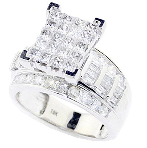 rings-midwestjewellery. COM Damen-Princess Cut Diamant Hochzeit Ring Verlobungsring 3in 1& Bands 10K Weiß Gold Echt Ohrstecker 2Karat (1-karat-diamant Ring Princess Cut)