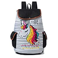 Drawstring Design Travel Rucksack For Teenager Girls Cartoon Unicorn Flamingo Printed School Backpack Canvas Lady School Bag