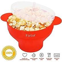 Firlar - Cuenco plegable de silicona, con tapa y asas cómodas y resistentes, para hacer palomitas de maíz en el microondas (rojo)