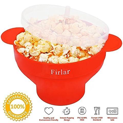 Firlar Mikrowellen-Popcorn-Topf, stabile, praktische Griffe, Silikon-Popcorn-Macher, Schüssel mit Deckel, zusammenfaltbar, rot