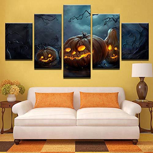 QJXX Leinwanddrucke Allerheiligen Halloween Bilder Wandbilder Animierte Gemälde 5 Stück Moderne Poster und Drucke Für Wohnzimmer Home Decor Kein Rahmen,A,30 * 40 * 230 * 60 * 230 * 80 * 1 (Animierte Halloween Bilder)