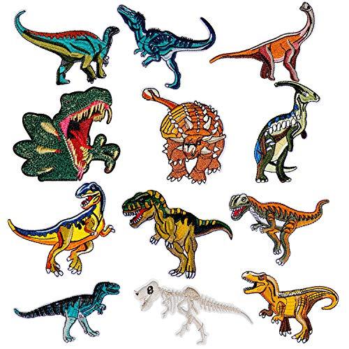 Comius applique, 12 pcs triassic jurassic cretaceo dianosaur patch e toppe, toppe termoadesive, toppe termoadesive divertente carina fai da te vestiti patch adesivi (dinosaur)
