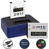 2 Baterías + Cargador doble (USB) EN-EL12 para Nikon Coolpix A900, S640, S8100, S9700, W300 / KeyMission 360, 170 ... - ver lista - contiene cable micro USB