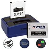 2 Batterie + Caricabatteria doppio (USB) EN-EL12 für Nikon Coolpix A900, S640, S8100, S9700, W300 / KeyMission 360, 170 ... - v. lista - Cavo USB micro incluso