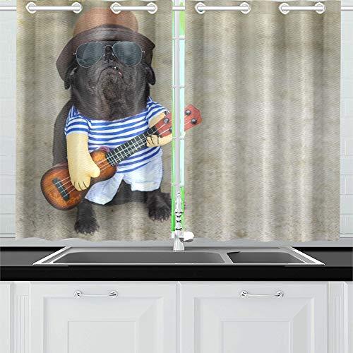 JOCHUAN Indy Musiker Gitarrist Mops Hund Lustige Mops Küchenvorhänge Fenster Vorhangebenen Für Café Bad Wäsche Wohnzimmer Schlafzimmer 26 * 39 Zoll 2 Stücke