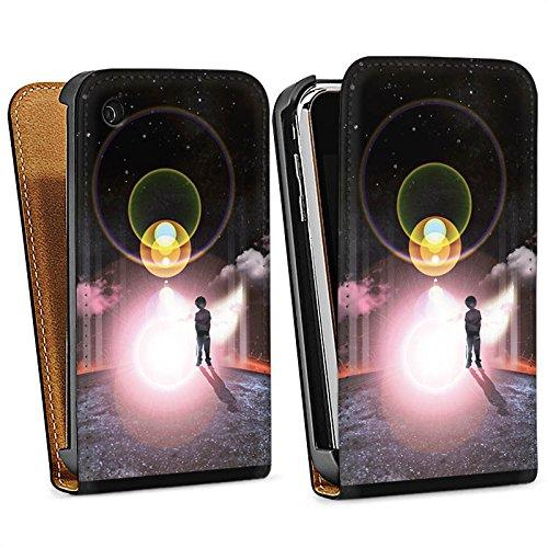 Apple iPhone 5s Housse Étui Protection Coque Galaxie Galaxie Nuages Sac Downflip noir