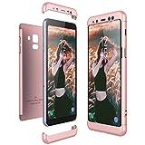 CE-Link Kompatibel mit Samsung Galaxy A8 2018 Hülle Hardcase 3 in 1 Handyhülle Ultra Dünn Hartschale 360 Grad Full Body Schutz Hart PC Skin Rückdeckel Bumper - Rose Gold