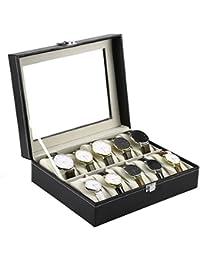 Kurtzy Watch Storage Box Display Case Organizer with Faux Leather Finish and Glass Window with 10 Slots 20x25x8 CM