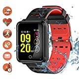 TagoBee TB06 IP68 a Prueba de Agua Smart Watch HD Touch Screen Fitness Tracker Soporte de presión Arterial frecuencia cardíaca Sleep Monitoring Contador de Pasos Compatible con Android y iOS (Rojo)