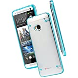 Fashion Ultra Thin Transparent Clear Soft Gel Skin Hard Case Cover For HTC ONE M7 (Sky Blue)