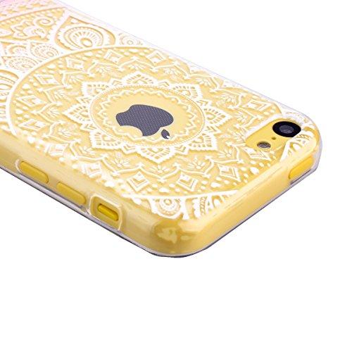 Für iPhone SE Weich Hülle, iPhone 5 5S Handytasche, SMART LEGEND Weiche Silikon Schutzhülle klar Transparent Handyhülle mit Mandala Muster Tasche Indische Sonne Design TPU Ramen Crystal Bumper Neu Zub Rosa