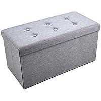 Faltbarer Sitzhocker, Sable Ottomane aus Leinen, Klappbare Sitzbank & Fußstütze, Aufbewahrungsbox, Grau, 76 x 38 x 38 cm