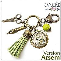 Porte clés - bijou de sac Atsem - Bronze et cabochon verre illustré Super Atsem - idée cadeau atsem, cadeau fin d'année scolaire