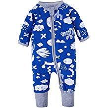 BIG ELEPHANT Mameluco de manga larga con cremallera de 1 pieza para bebés de bebé pijama