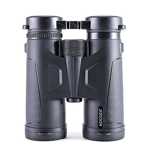 NOCOEX Jumelles 10x42 de Prisme de Toit BAK4. Jumelles Professionnelles Adéquates Pour Activités Extérieures - Noir.
