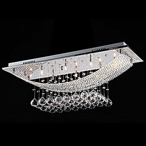 CIFFOST ®Moderne Cristal De Luxe Suspendu Diamant Plafonnier Luminaires Rectangulaires Pour Hôtel Salle De SÉJour Couloir Chambre Salle À Manger ÉClairage (Ampoules Incluses)