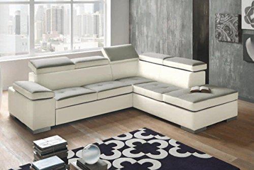 Divano angolare mod. eloise con penisola dx bicolor ecopelle bianco e tessuto grigio