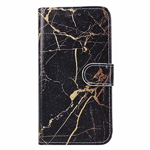 iPhone X Hülle, Asnlove Premium Leder Schutzhülle PU Leder Flip Tasche Case Book Style mit Integrierten Kartensteckplätzen und Ständer für Apple iPhone 10 / iPhone X 5.8 Zoll 2017 - Pteris Blume Marmor Schwarz