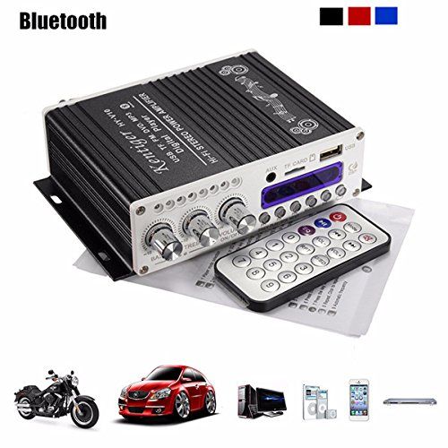 ELEGIANT 12V Mini Bluetooth HiFi Auto KFZ MP3 Stereo Audio Endstufe Amplifier Verstärker Car Audio Amplifier AMP Roller Booster Radio MP3 Verstärker MP3 für Auto KFZ PKW Motor CD DVD