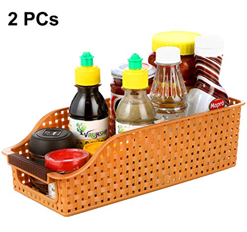 INOVERA (LABEL) Fridge Space Saver Food Storage Organiser Basket Kitchen Rack(Set of 2), 29L x 12.5B x 9H cm.