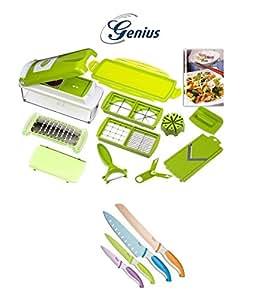 Genius-nicer dicer plus set coupe-légumes multifonctions 17 pièces-vert kiwi