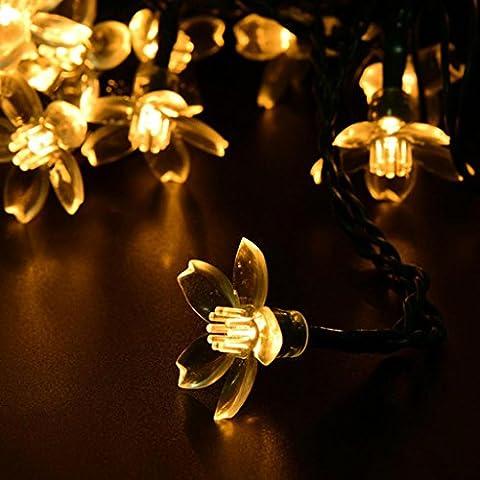 ZKF solare luci del giardino dei ciliegi solare String luci luminarie esterne solare 50 LED luci di Natale , warm white