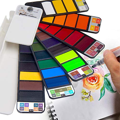 Golden Maple Aquarell Farben Set, Watercolour Paint Set, Portable Solid Aquarellfarbe Set Mit Aquarell Bleistift Perfekt FÜR Profis Und Anfänger -33 Farbe -