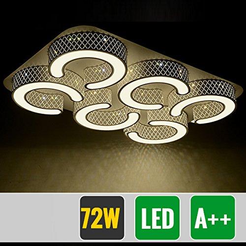 HG® 72W LED Deckenlampe Markantes Design Badezimmer Lampe Schwarz Energiespar Warmweiß eckig Deckenbeleuchtung - Schwarz-badezimmer-lampen