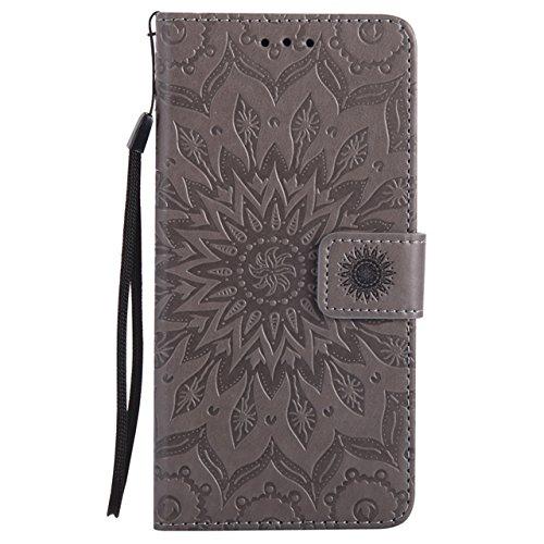 YHUISEN Galaxy J7 Prime Case, Sun Flower Druck Design PU Leder Flip Wallet Lanyard Schutzhülle mit Card Slot / Stand für Samsung Galaxy J7 Prime / On7 2016 ( Color : Blue ) Gray