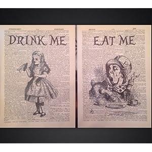 Vintage-Drucke von Alice im Wunderland, Der verrückte Hutmacher, Kunstdruck, 2 Stück