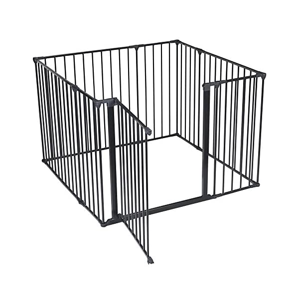 Safetots Play Pen (Black, 105 x 105 cm) Safetots perfect solution for keeping baby in a safe area whilst they rest and play Includes 1x 72cm Gate Opening Panel, 3x 72cm Panels, 4x 33cm Panels Extra wide door section for easy access 2