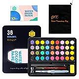 Aquarellfarben Set - 36 Aquarell-Farben-Set - Wasserfarben Set inkl. Aquarellfarbkasten mit 36 Wasserfarben, 10 Aquarellpapier, 1 Wasserpinsel, 1 Pinsel,1 Tasche - Malkasten für Anfänger und Profis