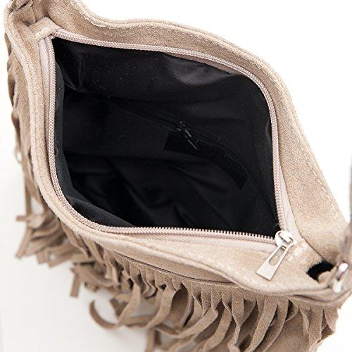 Borse a spalla , Borse a tracolla, sacchetto di frange, in pelle ( 26/ 23/ 2 cm), Mod. 2068 by Fashion-Formel Taupe