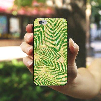 Apple iPhone X Silikon Hülle Case Schutzhülle Tropische dschungel Blätter Silikon Case schwarz / weiß