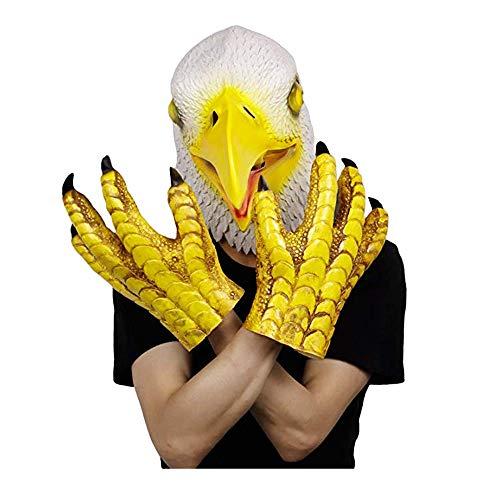 molezu Blad Adler Kopfmaske, Halloween Requisitual Symbol Adler Maske, Cosplay Kostüme Dekoration Latex Freiheit Adler Vogel Maske Tierkopf Maske (weiß)